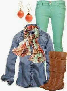 Skinny jeans, denim upper, scarf and long boots adorable stylish fashion <3