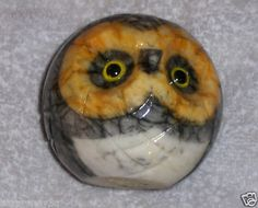 Vtg Alabaster Owl Figurine Hand Carved Stone Marble Owl Paperweight Bird Italy on eBay!