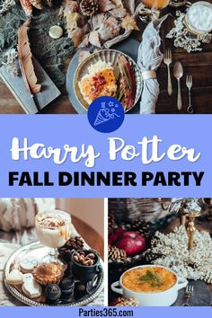 Thinking of hosting a dinner party and need ideas for a fun fall theme? How about a fancy Harry Potter themed dinner party for adults? From food to tablescapes decorations and table settings this feature will inspire a fun night with friends! Dinner Party Decorations, Dinner Party Menu, Dinner Party Recipes, Dinner Themes, Fall Dinner Parties, Dinner Table, Gateau Harry Potter, Harry Potter Food, Harry Potter Adult Party
