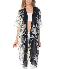 Another great find on #zulily! White & Black Floral Open Cardigan #zulilyfinds