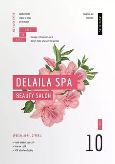 Spa Beauty Salon Flyer and Poster Template for Beauty Salons Design Salon, Spa Design, Beauty Spa, Beauty Hacks, Beauty Makeup, Banner Design, Flyer Design, November, Free Psd Flyer