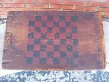 antique folk art red & black paint decorated checker game board