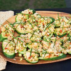 Cucumber Bruschetta with Grilled Shrimp & Crab Salad