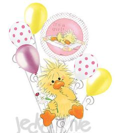 7 pc Suzy's Zoo Baby Girl Duck Witzy Balloon Bouquet Decoration Shower Welcome