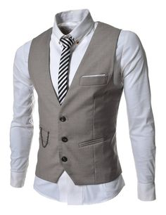 TheLees Mens slim fit chain point 3 button vest Beige Large(US Medium)