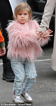 That looks familiar! Penelope Disick sports North West's jacket as Kourtney Kardashian takes her three children out for the day | Daily Mail Online