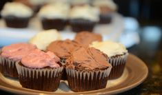 Chocolate cupcakes, choose your own frosting. Make vegan by subbing in Earth Balance for butter, or use vegan coconut oil option. Vegan Frosting, Frosting Recipes, Cupcake Recipes, Coconut Frosting, Vegan Chocolate Cupcakes, Vegan Cupcakes, Yummy Cupcakes, Vegan Treats, Vegan Desserts