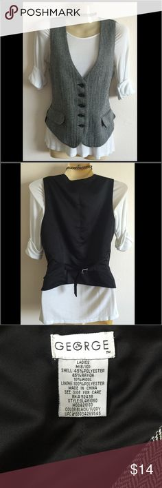 George tweed vest Super chic! Classic tweed vest. Size 8/10. Back is black satiny material with a silver winch buckle which adds curves! Great condition! George Tops