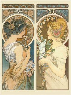 Mucha Art Nouveau, Motifs Art Nouveau, Alphonse Mucha Art, Motif Art Deco, Art Nouveau Poster, Art Nouveau Design, Gustav Klimt, Images Victoriennes, Illustration Art Nouveau