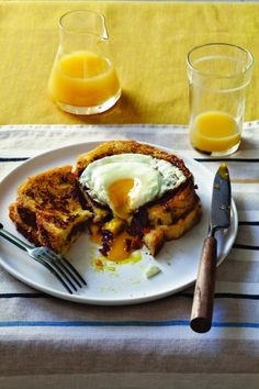 French Toast Stuffed with Bacon, Onion Tomato Jam with Gruyere #recipe from Own Your Kitchen by Anne Burrell  #brunch