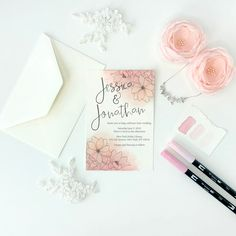 I often make custom wedding invitation artwork for brides, but today I'm going to show you three designs you can make yourself using Tombow Dual Brush Pens, check them out! See more designs and artwork by Jessica Mack of BrownPaperBunny at https://www.brownpaperbunny.com/