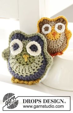 "Free pattern! Crochet DROPS owls in ""Merino Extra Fine"" or ""Safran"""