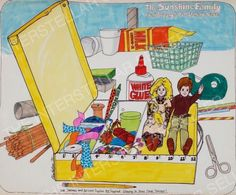 Rare! ORIGINAL 1975 SUNSHINE FAMILY CRAFT/DOLL STORAGE CASE CONCEPT ART! Vintage