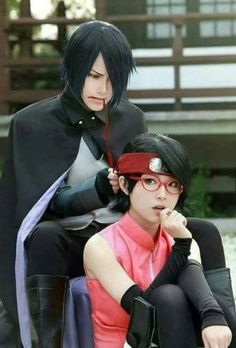 Naruto, Sarada and Sasuke