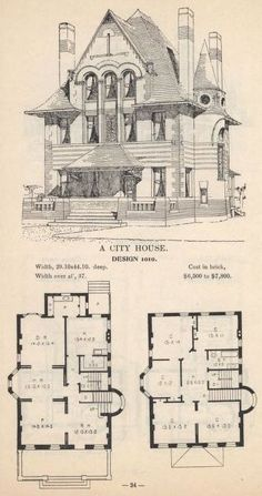 Artistic city houses, no. 43 - House Plans, Home Plan Designs, Floor Plans and Blueprints Victorian House Plans, Old Victorian Homes, Vintage House Plans, Architecture Drawings, Historical Architecture, The Sims, Sims 4, The Plan, How To Plan
