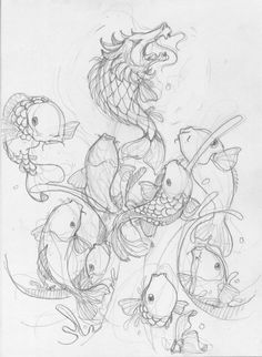I was going to use this Koi Dragon because I liked the fact that it wasn't the traditional style. After talking with Voodoo though, I've decided to keep everything as traditional as possible. Leg Tattoos, Small Tattoos, Sleeve Tattoos, Feng Shui Paintings, Koi Dragon, Occult Tattoo, Japanese Culture, Illustrators, Fantasy Art
