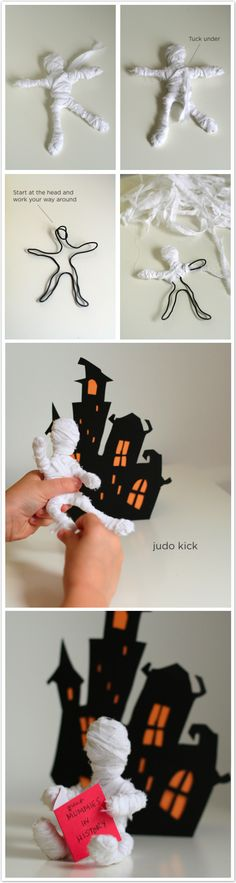 DIY minature mummy. This would be great for stop motion Also perfect addition to the fairy garden for Halloween :) Or as zombies tee hee hee!!