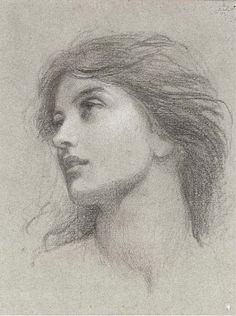 """ART BLOG: Franck Dicksee : Study for the head of the damsel in """"Chivalry"""""""