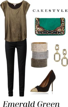 """Emerald Green"" by cakestyle ❤ liked on Polyvore"