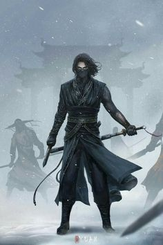Is it just me or does this look a lot like if Bucky was in Japan on a mission as the winter soldier - Re-posting - Ninja Kunst, Arte Ninja, Ninja Art, Fantasy Character Design, Character Design Inspiration, Character Concept, Character Art, Dark Fantasy Art, Fantasy Artwork