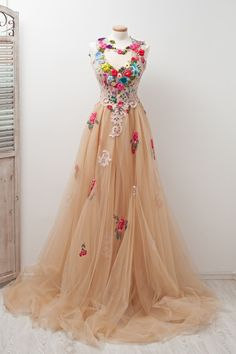 Summer Colorful Embroidey Flowers Lace Appliques  Open Back Tulle Dress Mbs0040