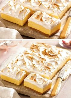 lemon meringue cheesecake This Lemon Meringue Pie Cheesecake Slice Recipe is one of our all time favorites and it's about to become yours. This is heaven on a plate! Mini Desserts, Lemon Desserts, Lemon Recipes, Pie Recipes, Sweet Recipes, Baking Recipes, Dessert Recipes, Plated Desserts, Tray Bake Recipes