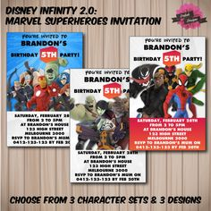 DISNEY INFINITY 2.0 Invitation  Marvel by DaliahDesigns on Etsy