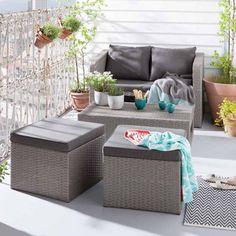 Loungemöbel Garten: OUTLIV. Mainau Sofagruppe 4 Teilig Flachgeflecht Grau/Kissen  Sand