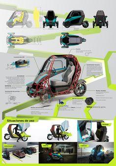 Industrial design at UCSF on Behance Microcar, Electric Car Conversion, Electric Bike Kits, Industrial Design Portfolio, Reverse Trike, Concept Motorcycles, City Car, Futuristic Cars, Mini Bike