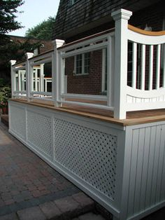 deck railing ideas for front porch deck but more open space at bottom for shoveling snow