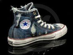 I like my Chuck Taylors like I like my jeans - beat up, lived in and run down. I want a pair of these Chucks shoes. Converse Chuck Taylor high top sneakers in weathered denim. These sneakers are even tattered like my jeans. Style Converse, Converse Chucks, Converse Classic, Converse Shoes For Men, Purple Converse, Black Converse, Prom Shoes, Men's Shoes, Shoe Boots