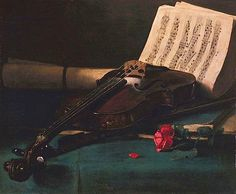 Francis Bonvin, Still Life with Violin, Sheet Music and a Rose, 1870