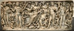 Marble sarcophagus with the Triumph of Dionysus and the Seasons. Roman, ca. 260–270 CE. The central figure is that of the god Dionysus seated on a panther, but he is somewhat overshadowed by four larger standing figures who represent the four Seasons (from left to right, Winter, Spring, Summer, and Fall). The figures are unusual in that the Seasons are usually portrayed as women, but here they are shown as sturdy youths.