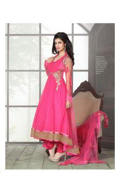 Amazon Pink Bridal Wear Heavy Anarkali Suit