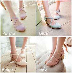 """Do these shoes recommend you to Sailor Moon Usagi School Shoes? We found it very similar to them so we put on sale. Hope these shoes can bring you more favorite memories with Sailor Moon time. Material: made of PU leather and rubber Heel: 6cm/2.36"""" Colors: Blue/ Beige/Purple/Pink Product weight: approx 1 KG Warm tips: Please measure your foot length and compare with the foot length above before ordering; Kindly note Shoes items are not returnable or refundable, please check your measurements car Ballet Shoes, Shoes Sandals, Dance Shoes, Sailor Moon, Cute Shoes For Teens, Gothic Punk Fashion, Cute Clothing Stores, Kawaii Shoes, Kawaii Clothes"""
