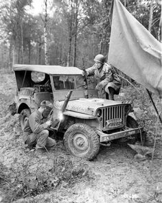 Field mods on a Signal Corps. GPW.  Note the jerry cans in the rear seat.