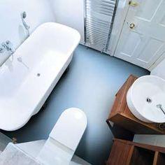 LIght blue vinyl flooring in a bathroom