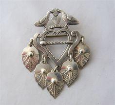 David Andersen Cast Silver Solje Pin Doves & Hearts Enamel Jewelry, Silver Jewelry, Norwegian Style, Body Adornment, Heart Jewelry, Folklore, Gemstone Beads, Brooch Pin, Norway