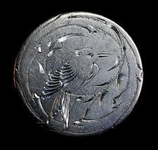 Love Token Engraved Bird Design On 1858 Liberty Seated Quarters 25c Silver.