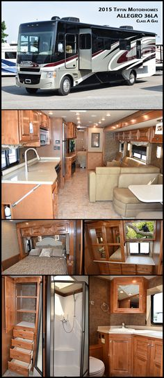Have fun traveling in this 2015 Tiffin Motorhomes ALLEGRO 36LA Class A Gas Motorhome. The first model Tiffin ever produced, the Allegro is a favorite of first-time RV owners, earning raves for its comfort, design, reliability, and affordability.