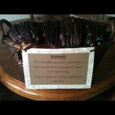 Kippot basket for an interfaith wedding!