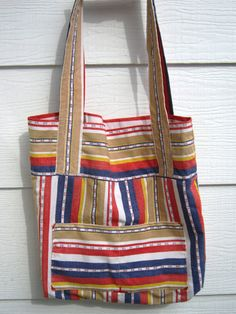 Shopping Tote, Project Bag, Large Reversible Cotton Market Carry-All