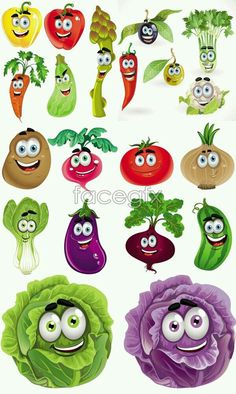 What do you say of these happy vector vegetables and garden plants that, for some reason are all just a big smile. Happy vegetables cartoon vectors 5 EPS v Fruit And Veg, Fruits And Vegetables, Cartoon Vegetables, Vegetable Cartoon, Funny Fruit, Fruits Images, Vector Design, Painted Rocks, Vector Free