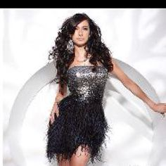 Feather brides maid dresses!(: