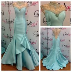 Do you believe in love at first sight? Cause I did after seeing this gown! Beautiful Aqua gown with intricate skirt, beaded collar, cap sleeves, and gorgeous back! http://www.pageantplanet.com