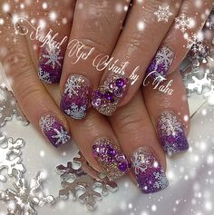 purple winter christmas snowflake nails