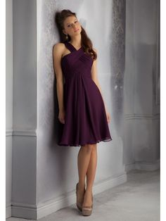A-Line Short Purple Chiffon Draped and Crossed Neckline Bridesmaid Dresses 5602126