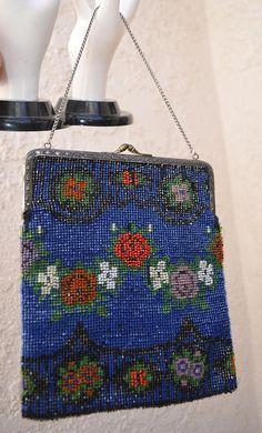 Vintage Accessories Reasonable Antique Art Deco Checker Crochet Iridescent Peacock Blue Bead Drawstring Purse Bags, Handbags & Cases