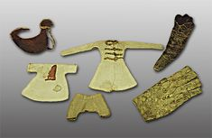 8th-9th century doll clothes from Moshchevaja Balka (Georgia)/Мозжевая балка, Hermitage in St. Petersburg. Vikings, Medieval Games, Viking Dress, Victorian Kitchen, Hermitage Museum, Viking Age, Old Toys, Toys For Girls, Handmade Toys