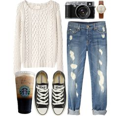 """""""Cream"""" by hanaglatison on Polyvore, cream knit sweater, black converse, ripped jeans"""